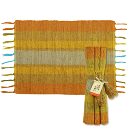 Vetiver Placemat Set of 6 - Fiesta Citrus Stripe