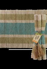 Vetiver Placemat Set of 6 - Olive & Teal Stripes