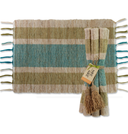Vetiver Placemat Set of 6 - Olive & Teal Stripes