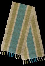 Vetiver Table Runner - Olive & Teal Stripes