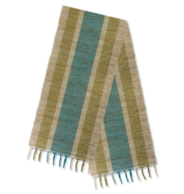 Vetiver Table Runner - Olive & Teal Stripes