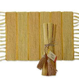 Vetiver Placemat Set of 6 - Turmeric Stripe