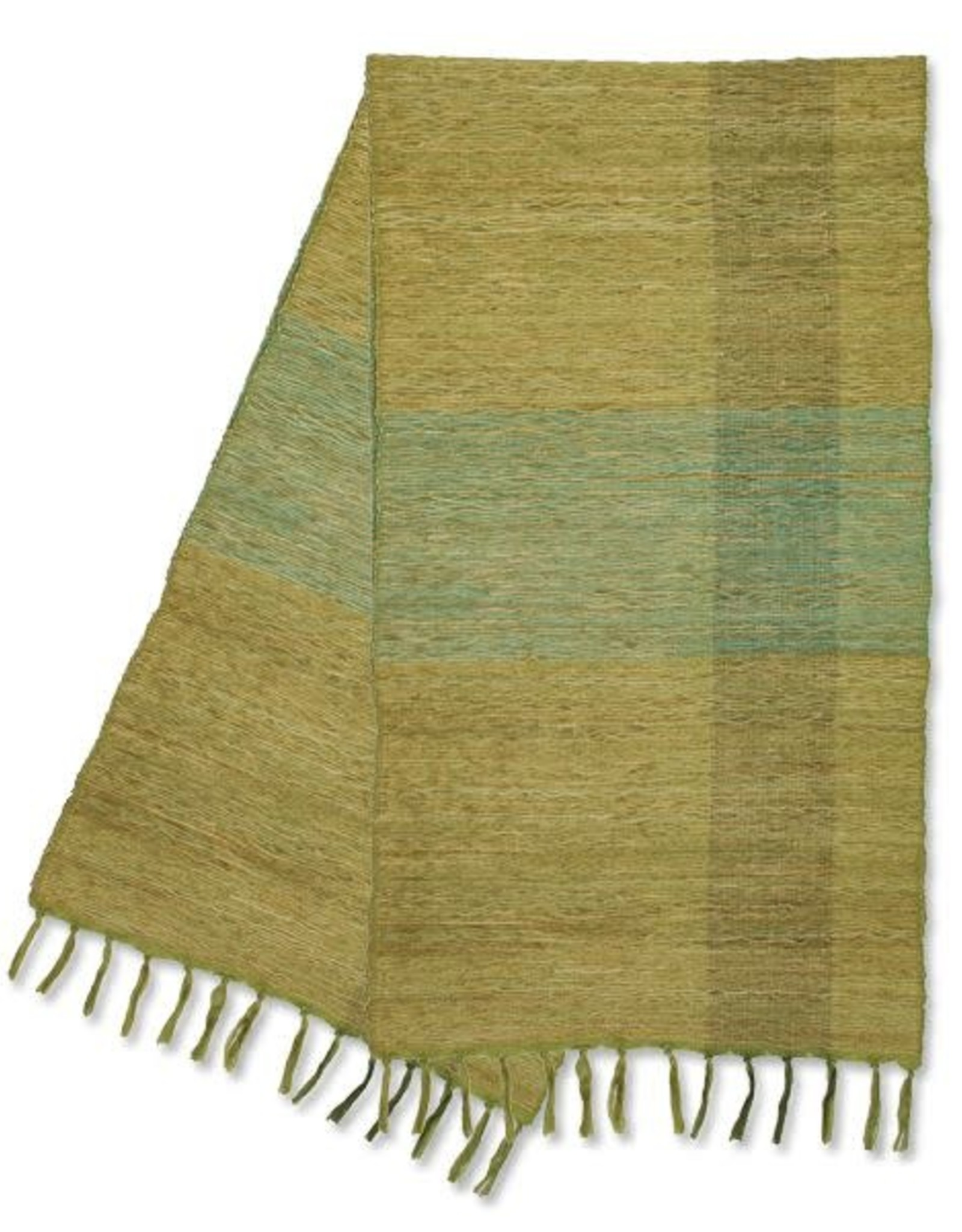 Vetiver Table Runner - Green Blocks