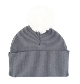 Tiny Twig Pom Pom Beanie - Soft Gray