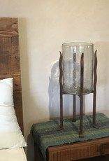 Artisan's Gallery Hand Forged Iron Torre Base with Recycled Glass Hurricane Vase