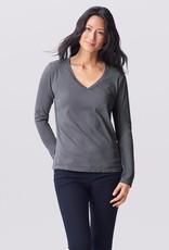Essential Organic Cotton Tee Gray Long Sleeve Large