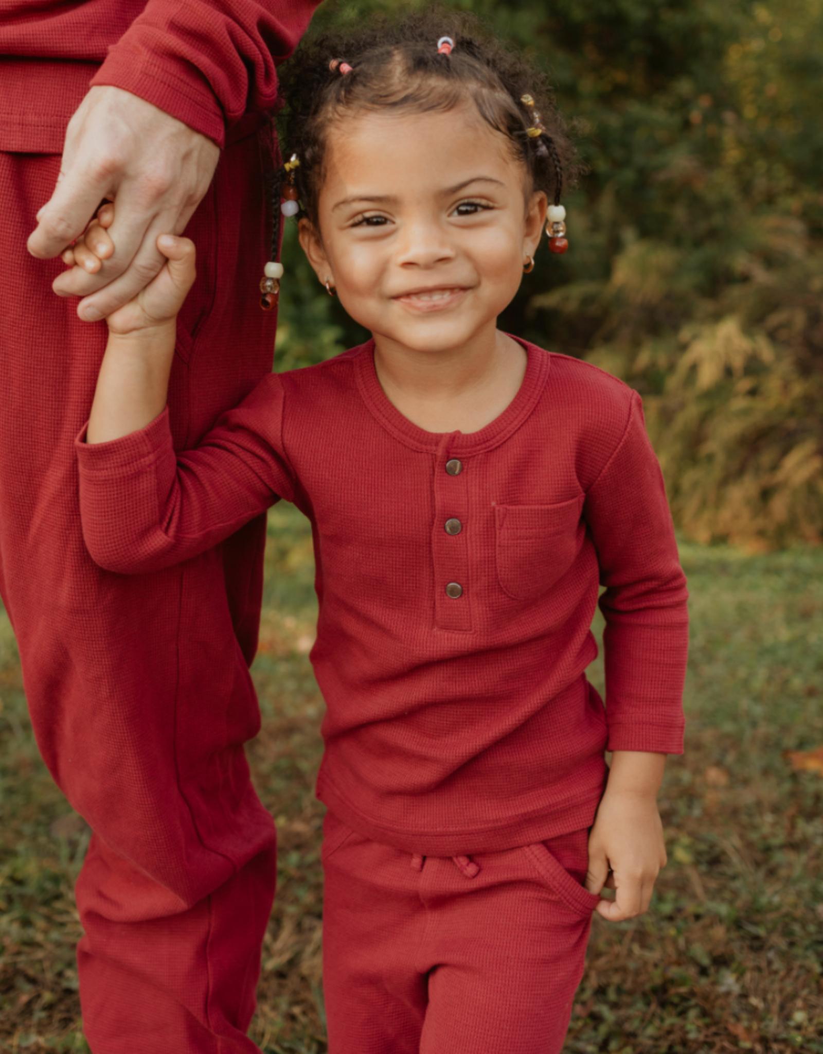 L'oved Baby Kids Long Sleeve Thermal Pajama Set Crimson