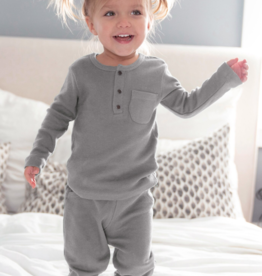 L'oved Baby Kids Long Sleeve Thermal Pajama Set Mist