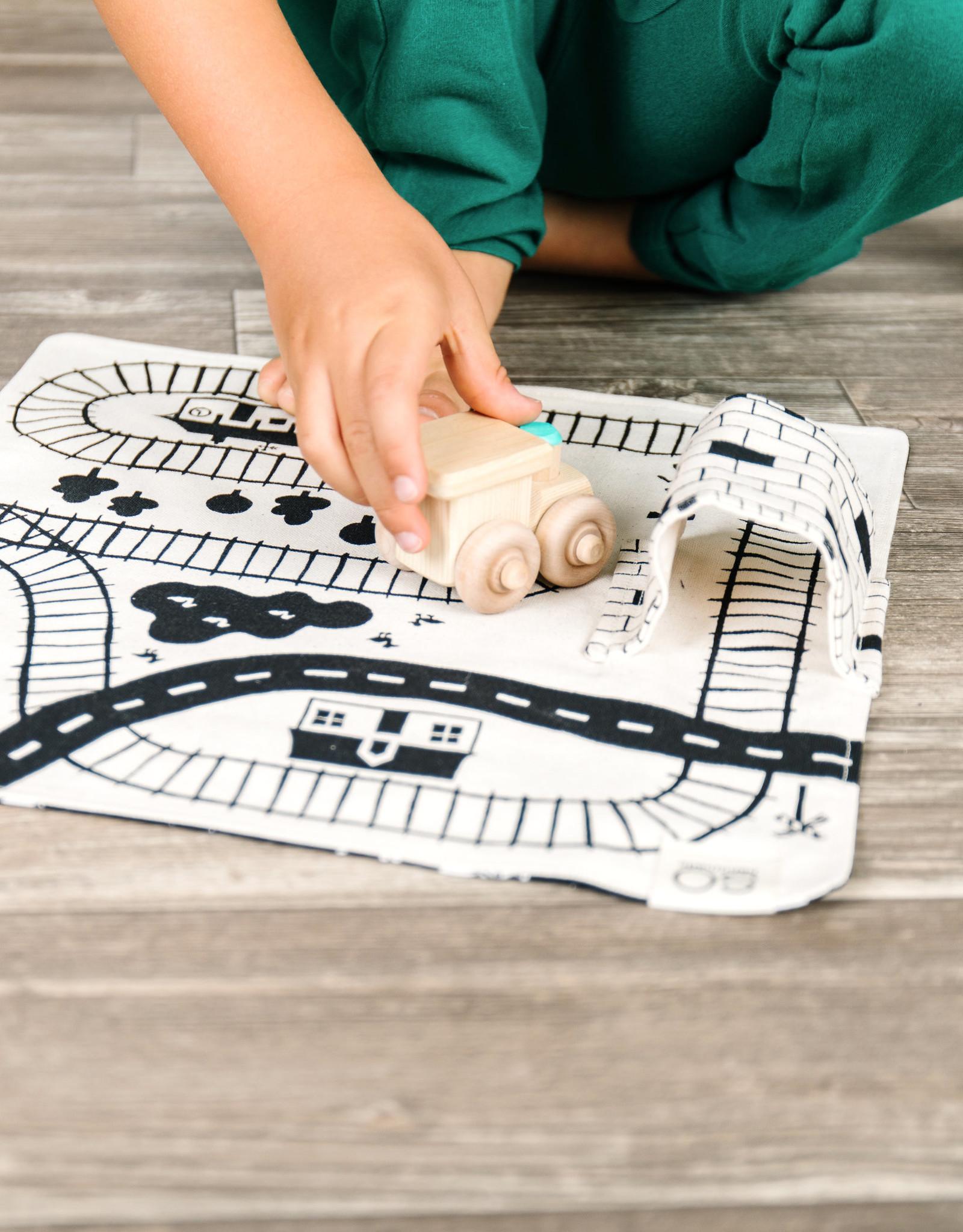 So Handmade Organic Train Playmat with Wooden Train