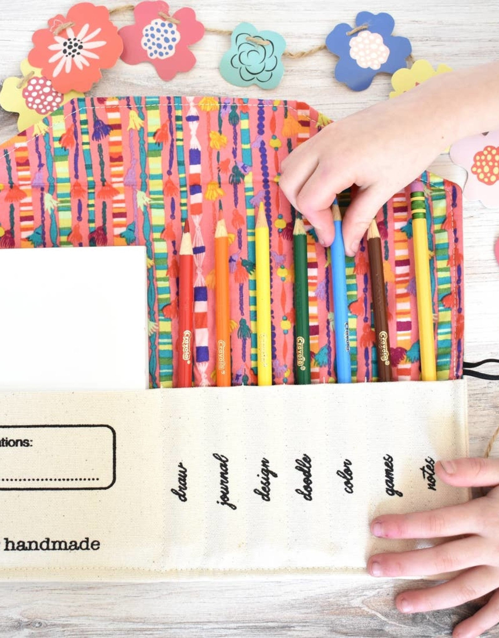 So Handmade Organic Pencil Pouch - Red Lining
