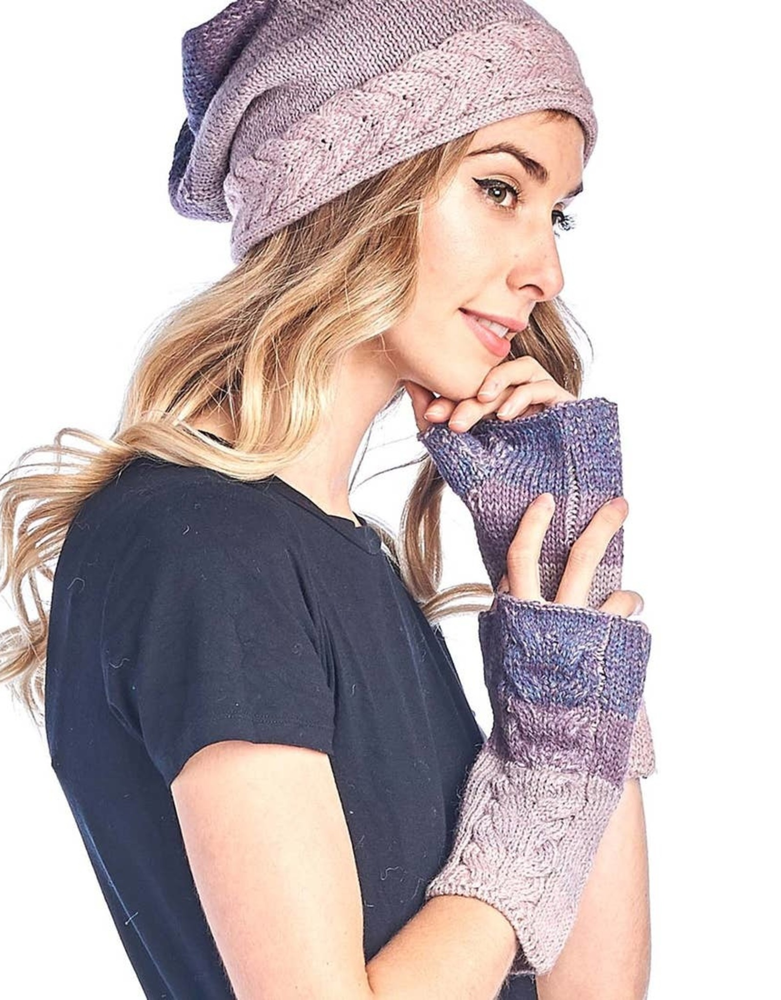 Shupaca Alpaca Fingerless Alpaca Gloves - Fade - Berry