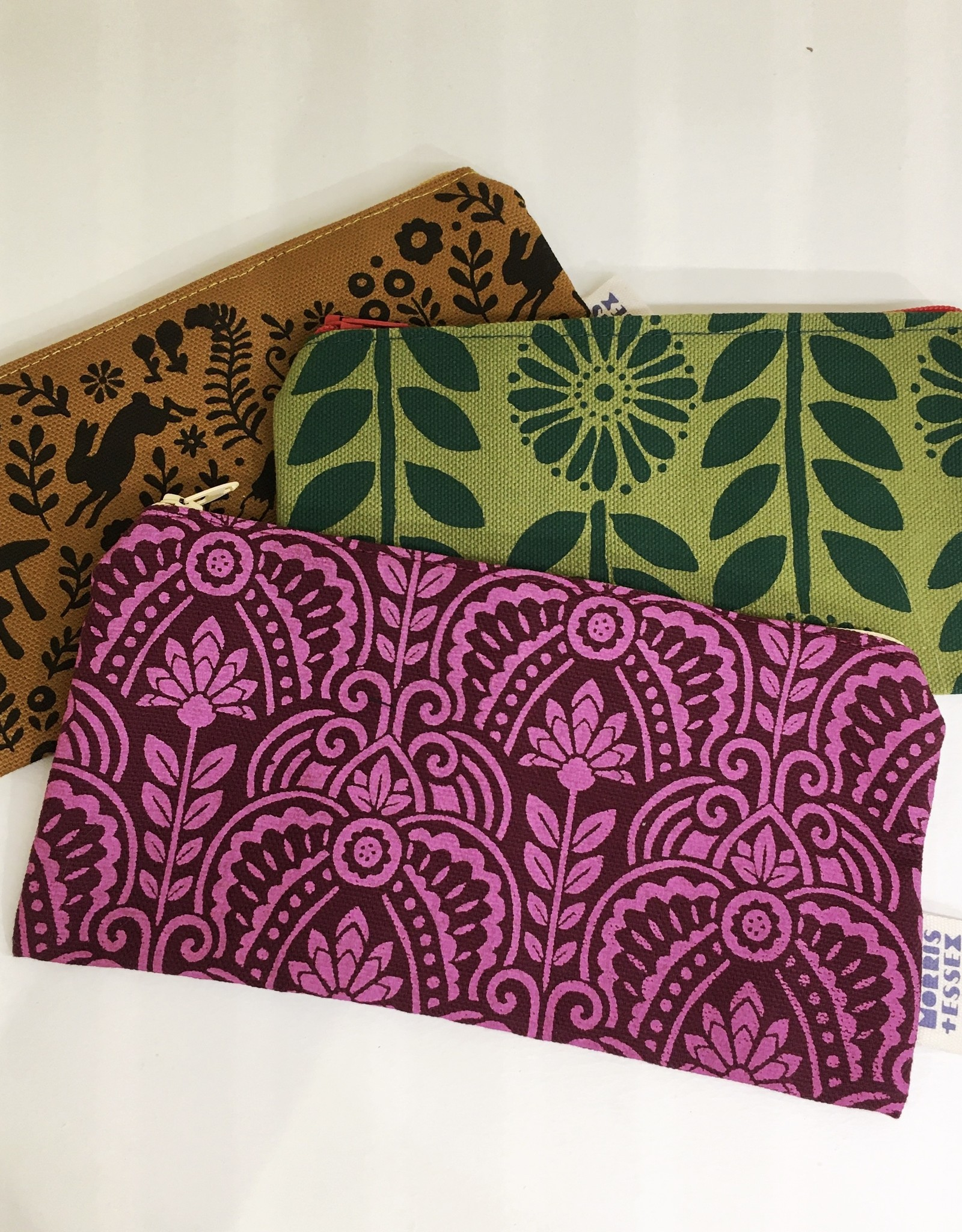 Morris & Essex Hand Printed Organic Cotton Zipper Pouch