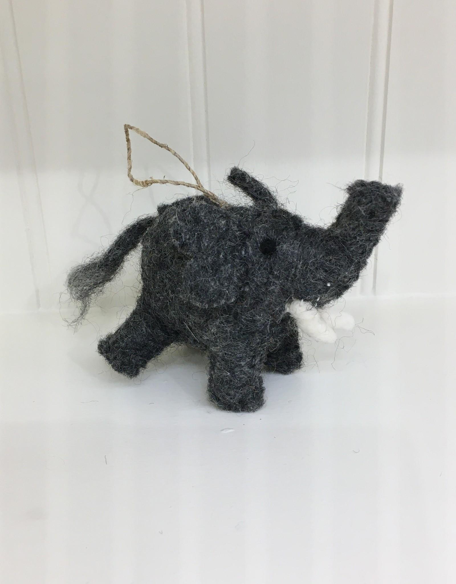 The Winding Road Wool Elephant Ornament