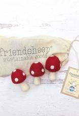 Friendsheep Wool Mushroom Kitty Toys Set of 3