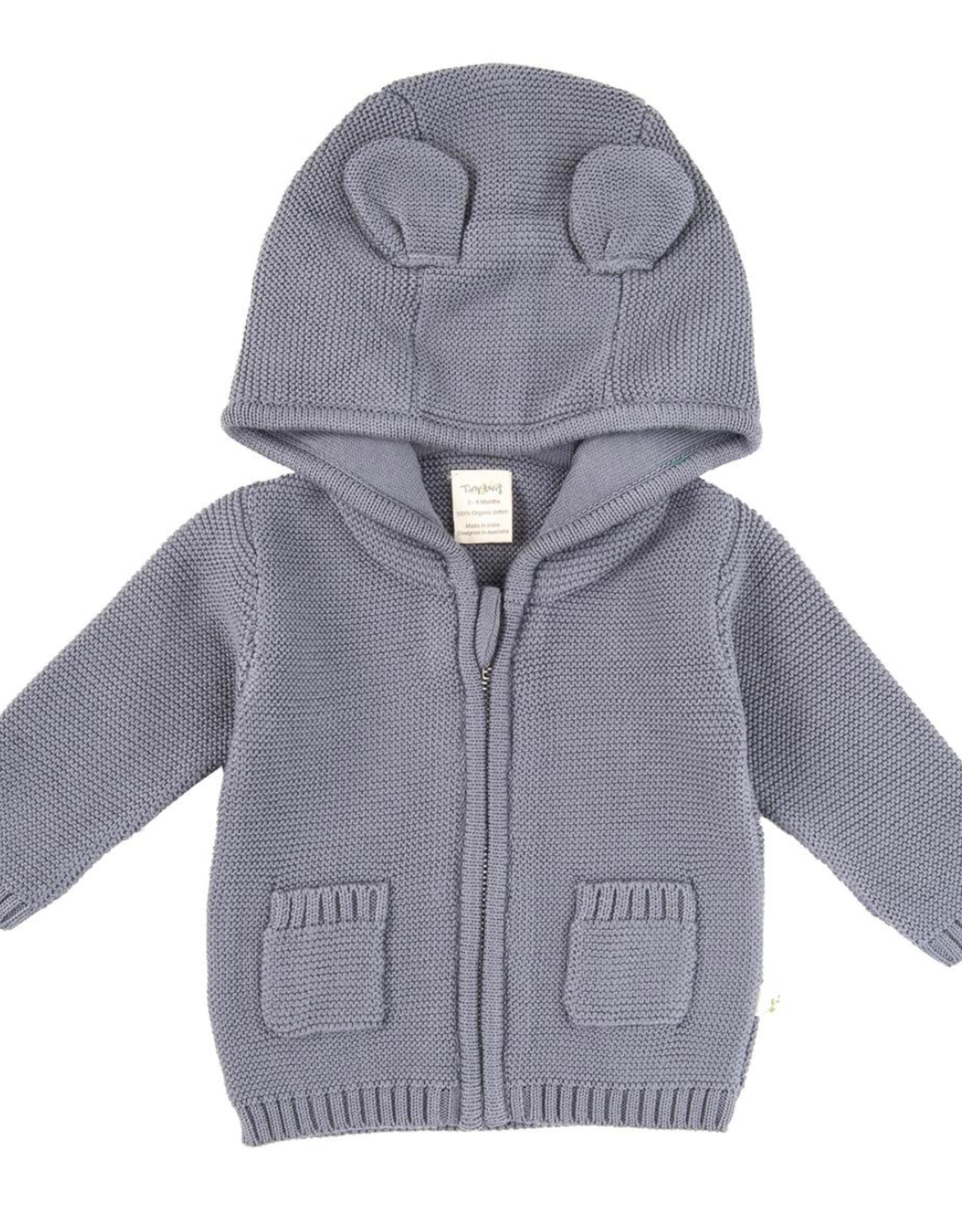 Tiny Twig Knitted Hoodie with Ears Dark Gray