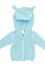 Tiny Twig Knitted Hoodie with Ears Soft Blue