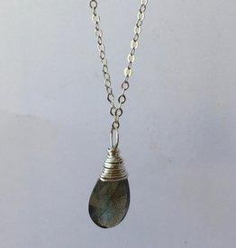Cabana Gem Necklace- Silver with Labradorite