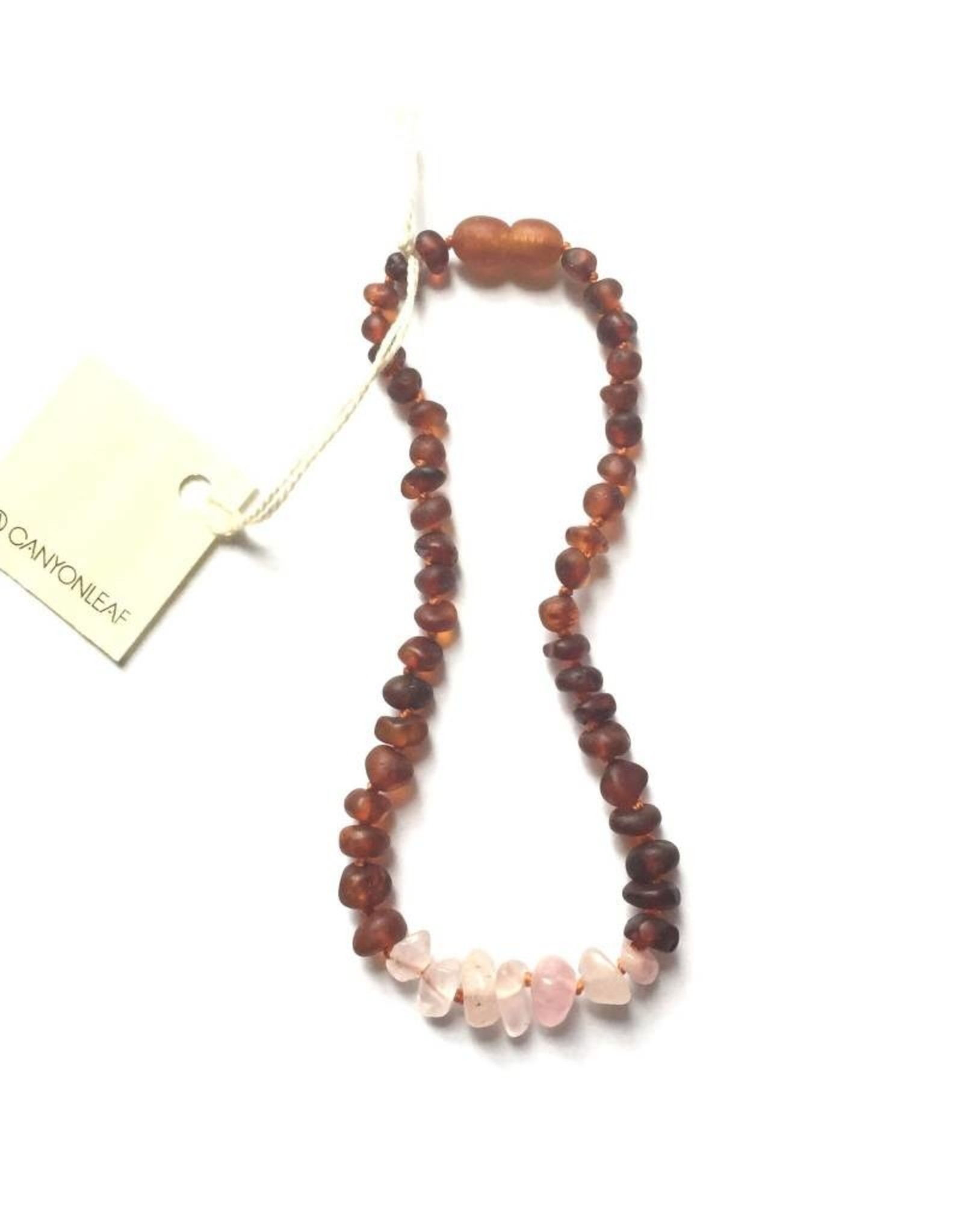 Canyon Leaf Raw Baltic Amber Adult Necklace with Raw Rose Quartz Gems