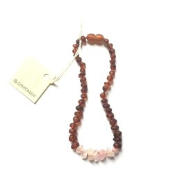 Canyon Leaf Baltic Amber Necklace with Rose Quartz Gems