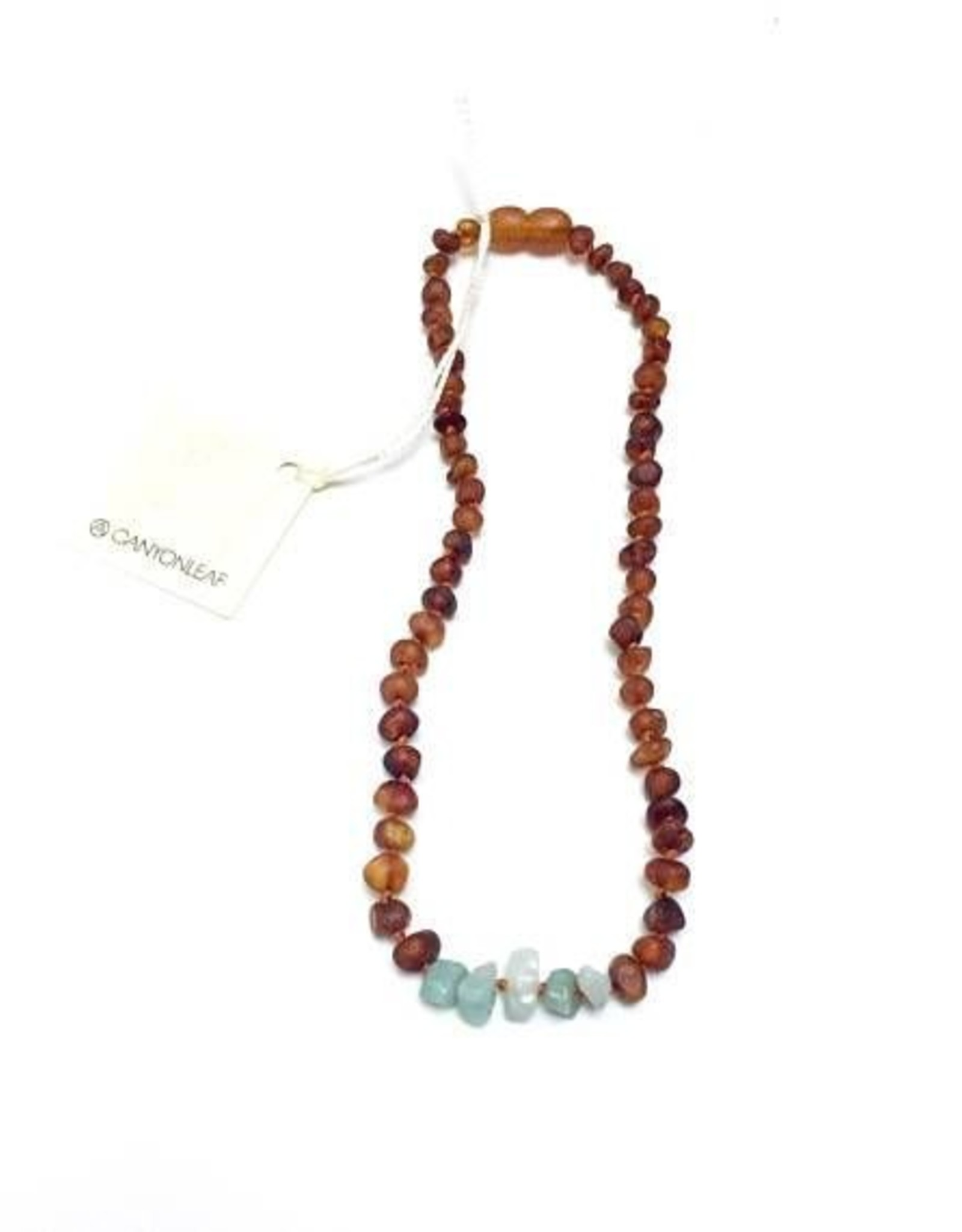 Canyon Leaf Raw Baltic Amber Adult Necklace with Raw Amazonite Gems