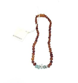Canyon Leaf Baltic Amber Necklace with Amazonite Gems