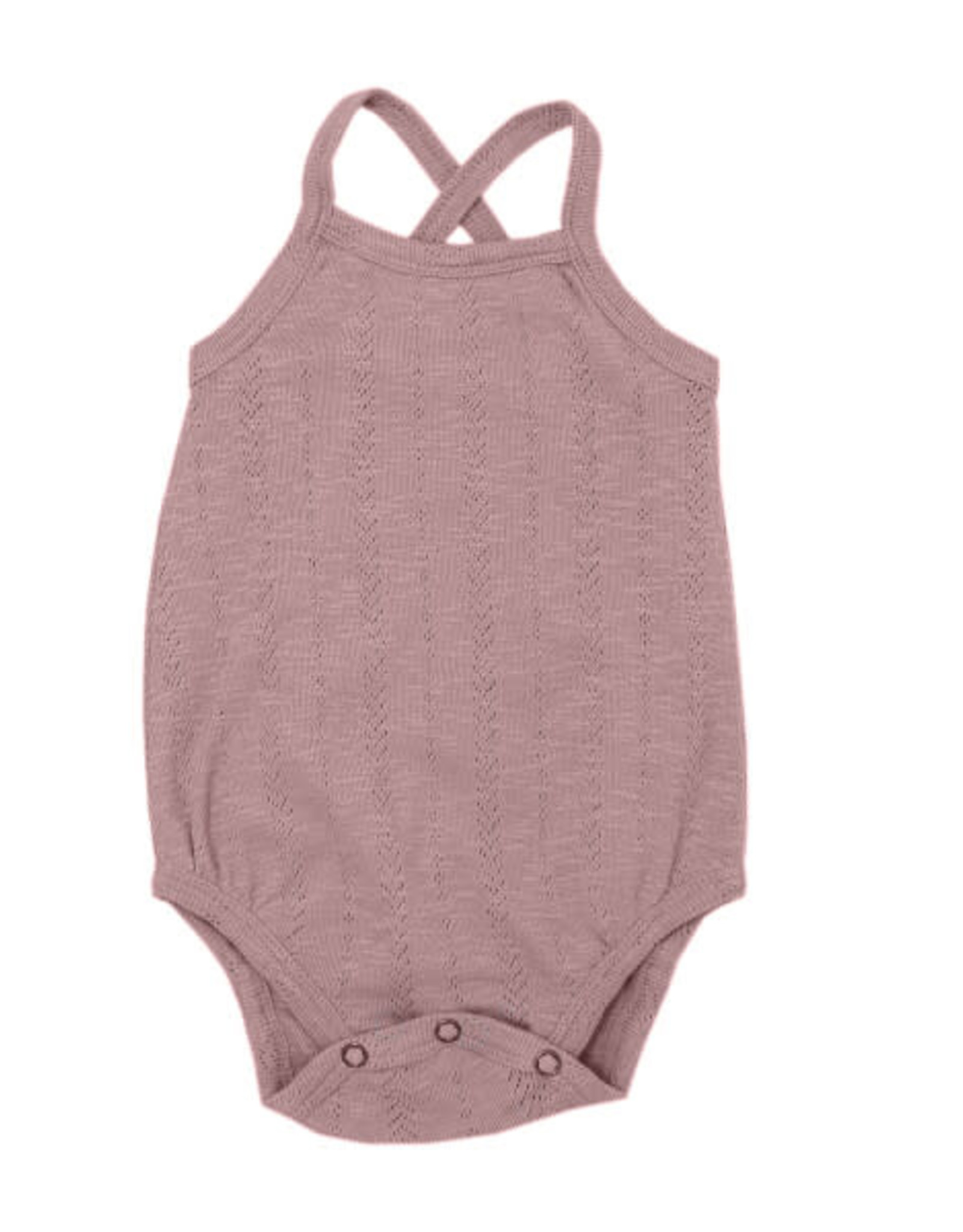 L'oved Baby Pointelle Crossback Bodysuit Thistle