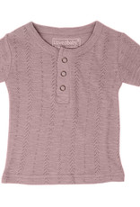 L'oved Baby Pointelle Short Sleeve Henley Thistle