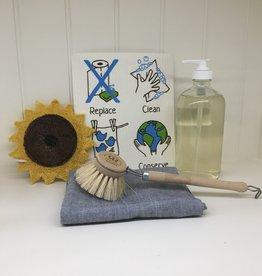 Zero Waste Dishwashing Kit with Liquid Soap