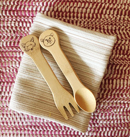 Kids Fork & Spoon Set Engraved with Animals