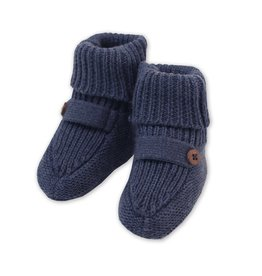 Viverano Heather Knit Baby Booties Indigo