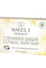 Makes 3 Organic Soap Coriander, Ginger, & Oatmeal