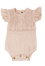 L'oved Baby Smocked Short Sleeve Body Suit Rosewater Dots