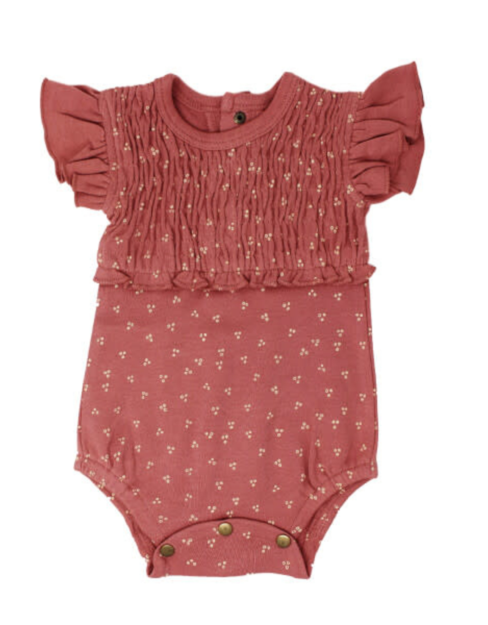 L'oved Baby Smocked Short Sleeve Body Suit Sienna Dots