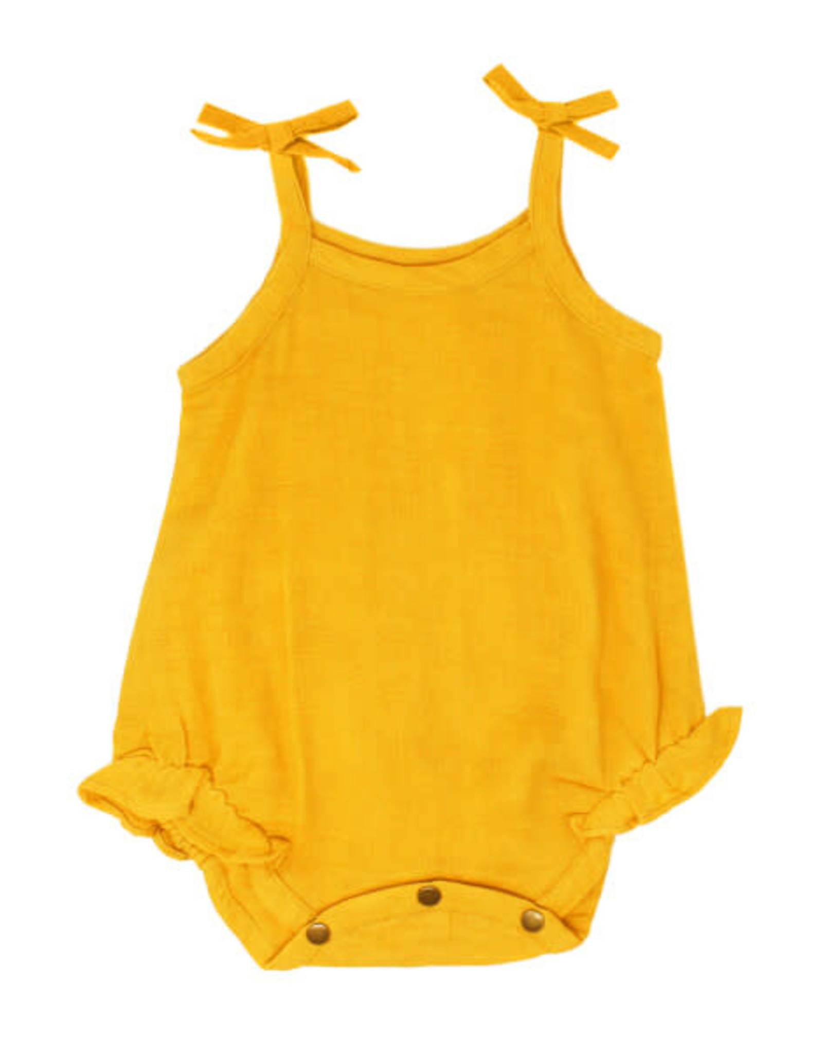 L'oved Baby Muslin Tie Shoulder Bodysuit Saffron