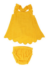 L'oved Baby Muslin Tunic Top & Bloomer Set Saffron