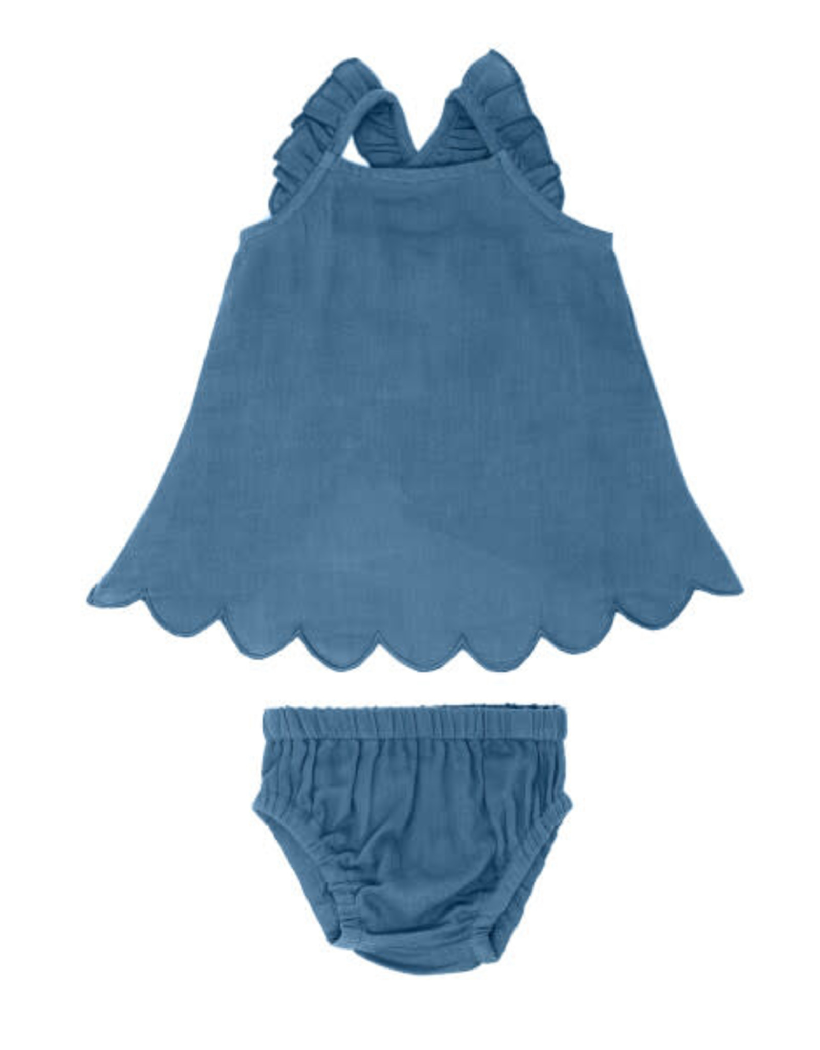 L'oved Baby Muslin Tunic Top & Bloomer Set Pacific