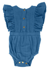 L'oved Baby Muslin Ruffle Bodysuit Pacific