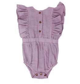 L'oved Baby Muslin Ruffle Bodysuit Amethyst
