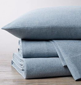 Cloud Brushed Flannel Sheet Set Blue Heather King