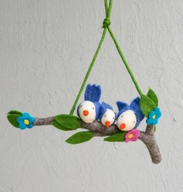 The Winding Road Wool Mobile - Blue Birds