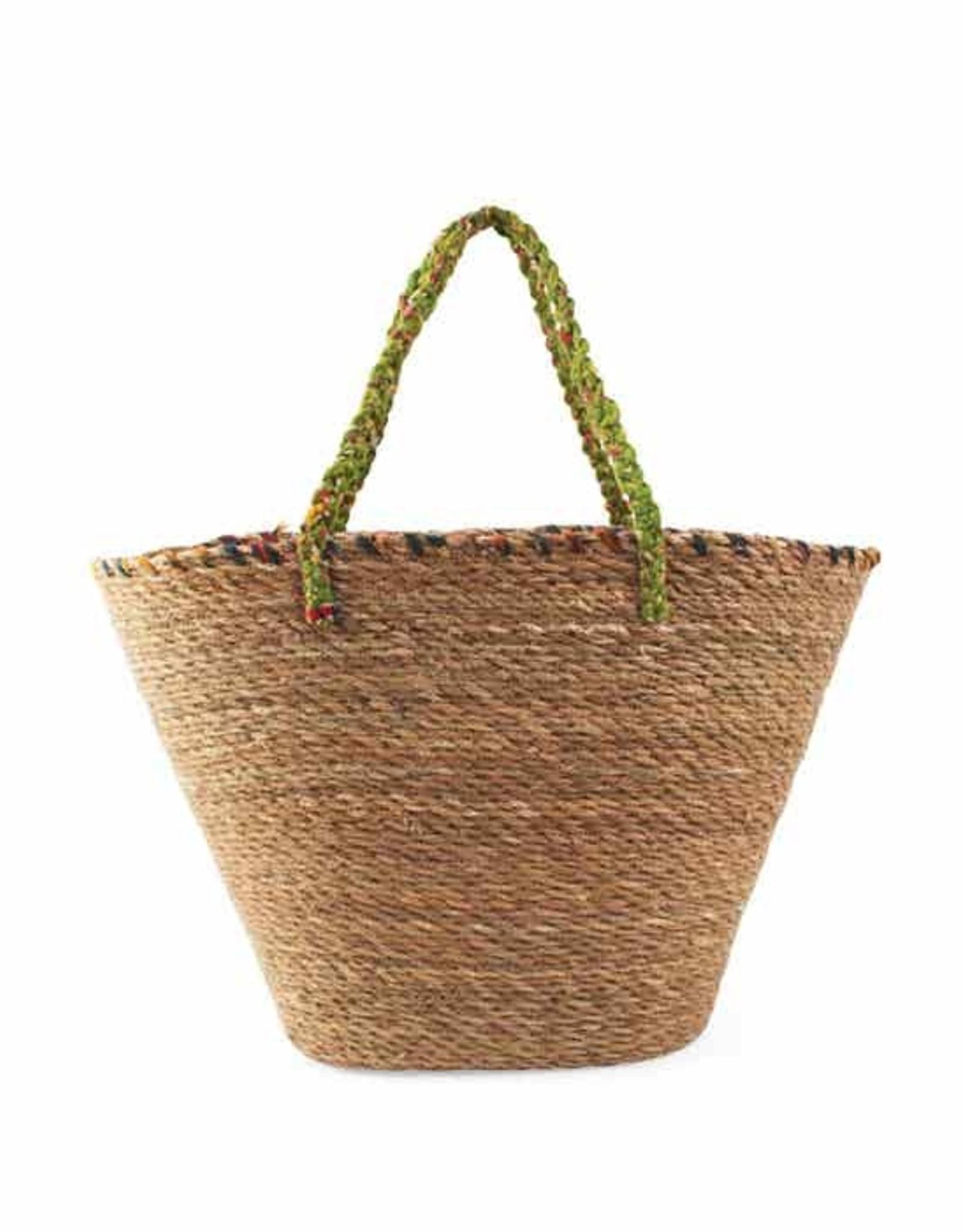 Recycled Sari & Grass Beach Bag