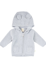 Tiny Twig Knitted Hoodie with Ears Light Gray