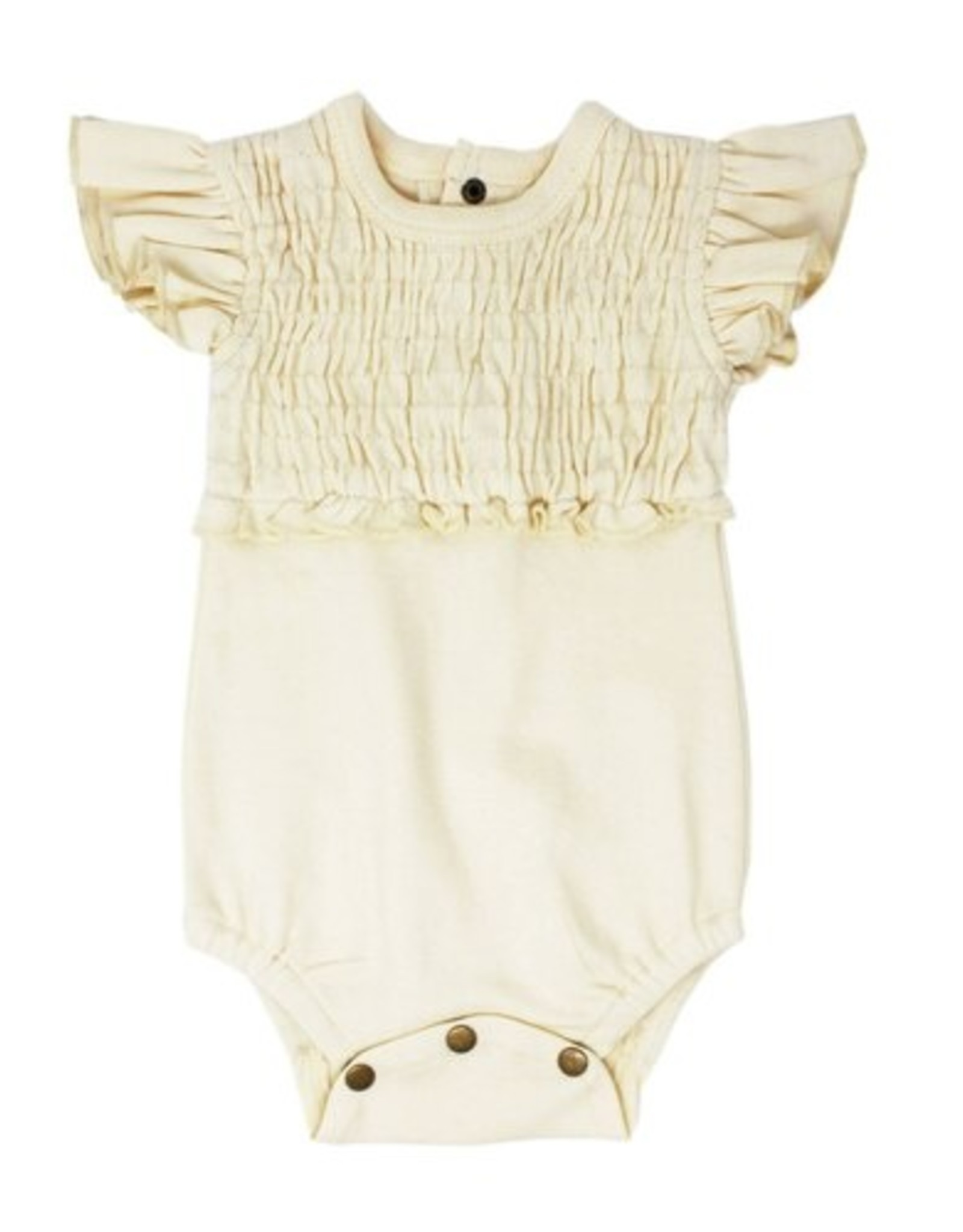 L'oved Baby Smocked Short Sleeve Body Suit Solid Beige 3-6m