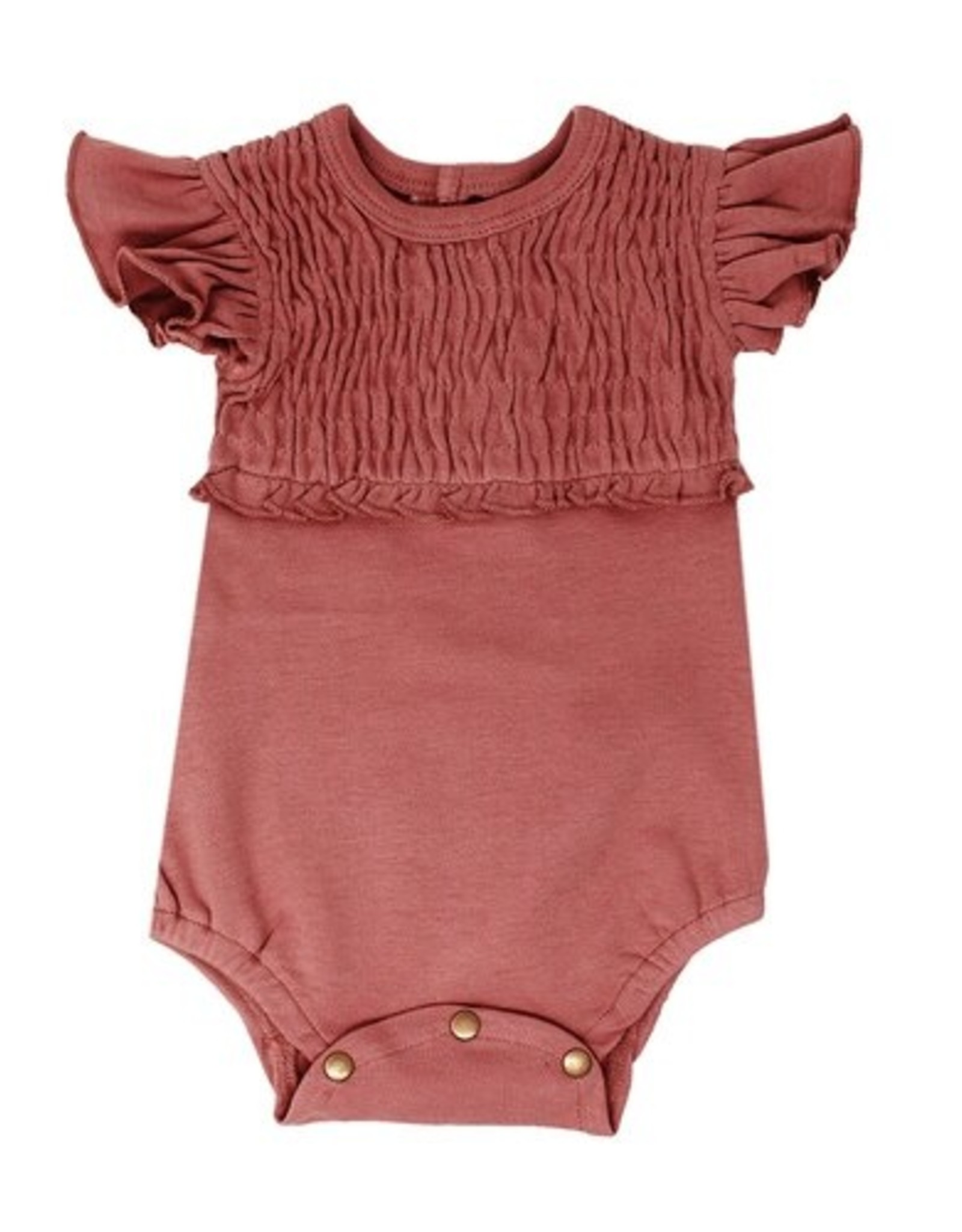 L'oved Baby Smocked Short Sleeve Body Suit Solid Sienna