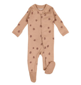 L'oved Baby Nutmeg Zippered Footie with Pinecone Print