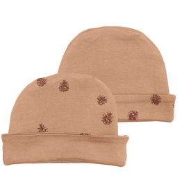 L'oved Baby Nutmeg Reversible Beanie with Pinecone Print