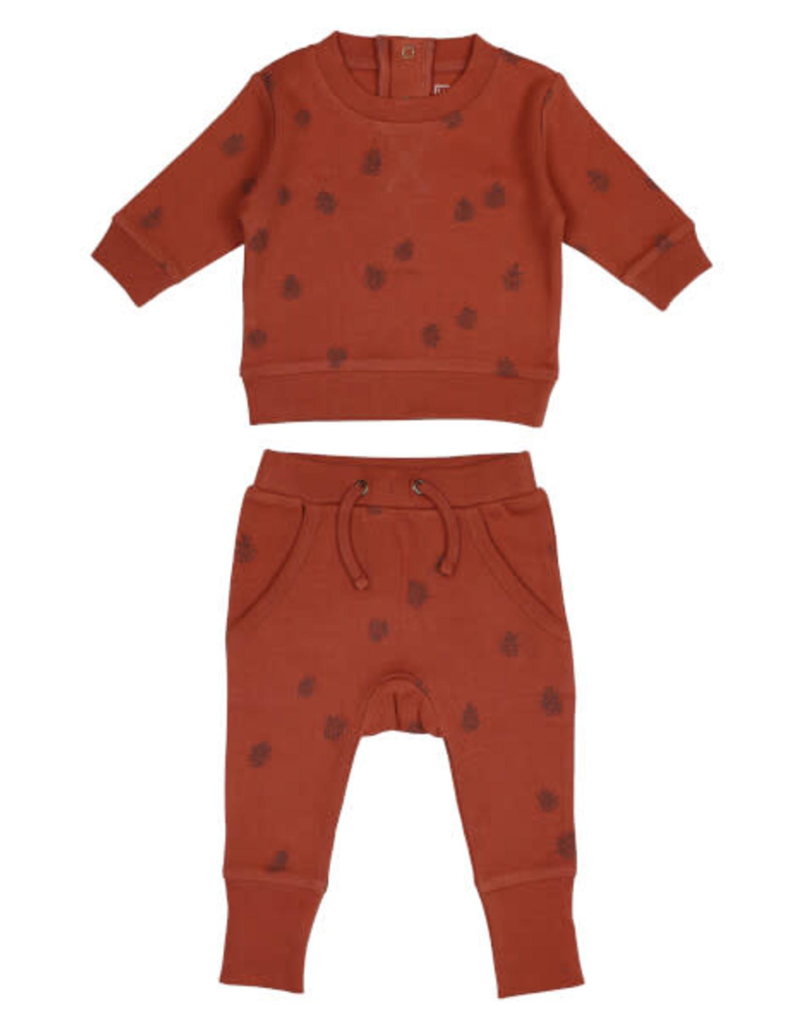 L'oved Baby Baby Cinnamon Sweatshirt & Jogger Set with Pinecone Print