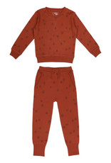 L'oved Baby Kids Cinnamon Sweatshirt & Jogger Set with Pinecone Print