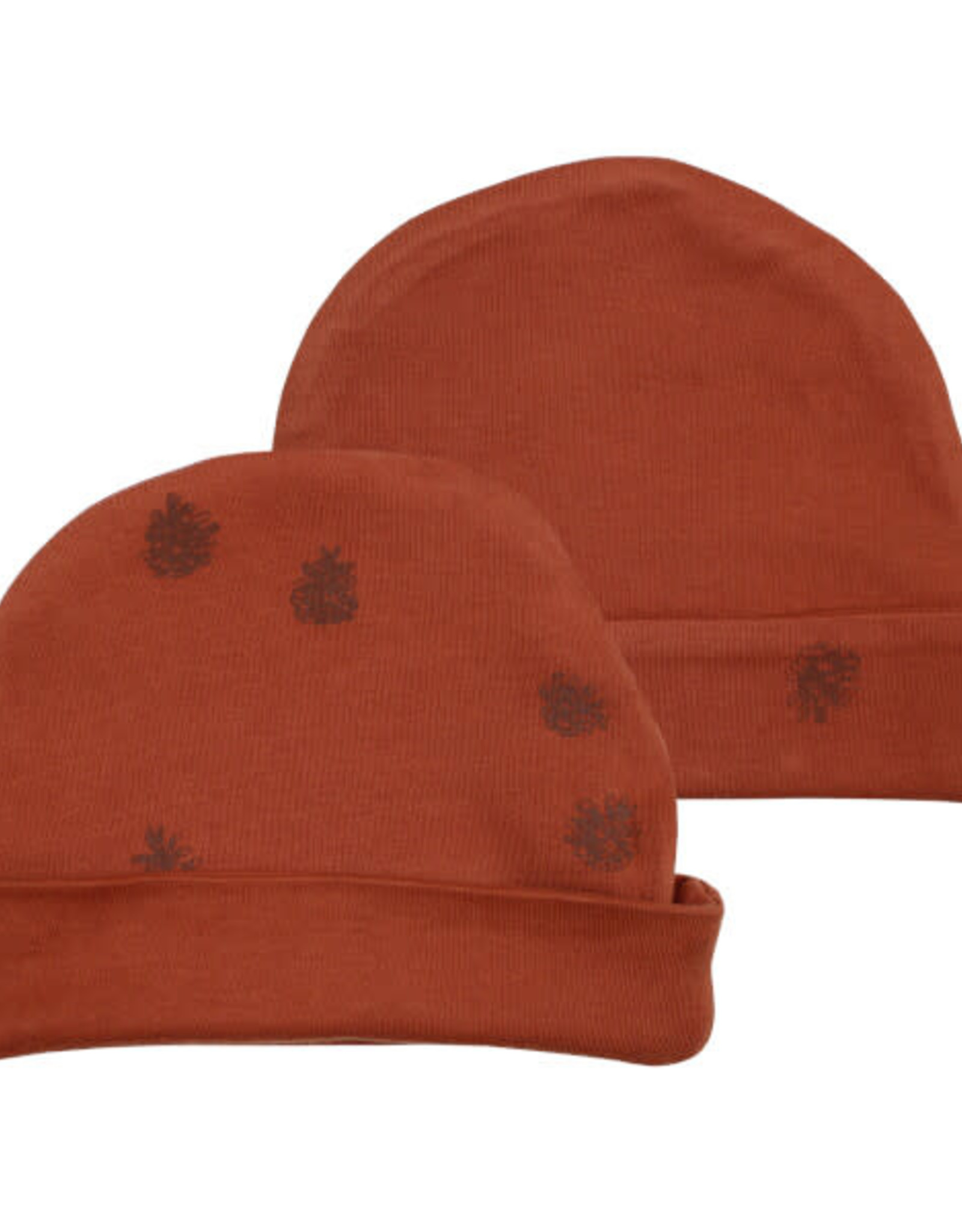 L'oved Baby Cinnamon Reversible Beanie with Pinecone Print