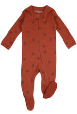L'oved Baby Cinnamon Zippered Footie with Pinecone Print